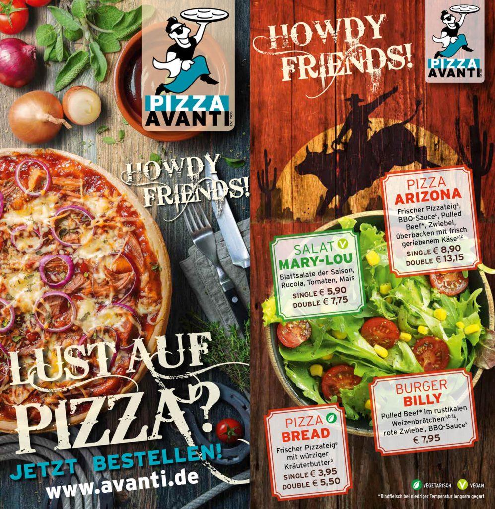 Pizza Avanti Speisekarte nokidesign
